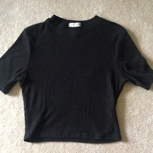 urban outfitters black mock neck crop top